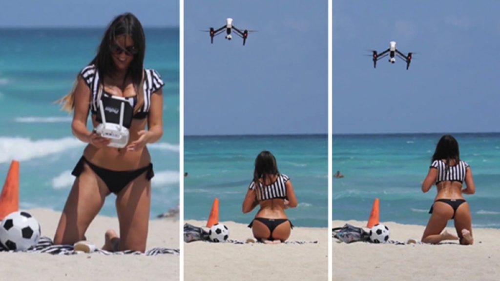 Dji inspire_con ragazza in bikini in spiaggia