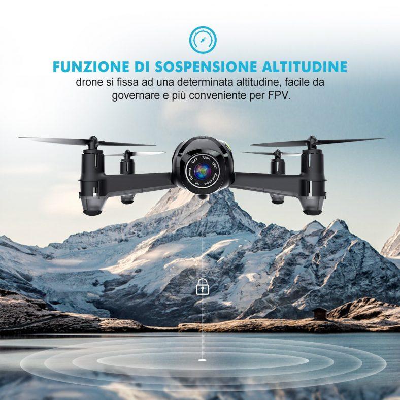 Potensic Drone U36W con Telecamera HD 720P WiFi FPV 2.4Ghz , Drone Telecomandato Funzione di Sospensione Altitudine,con SD Scheda di 4G,Buono regalo di Natale